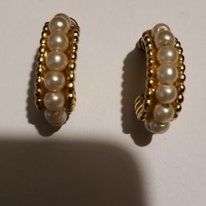 Post Earrings With Simulated Pearls